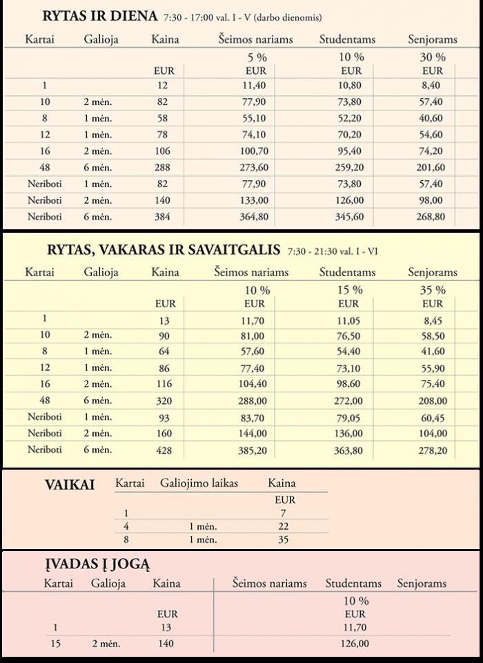 Ashramo 2016 Naujos kainos Eurais